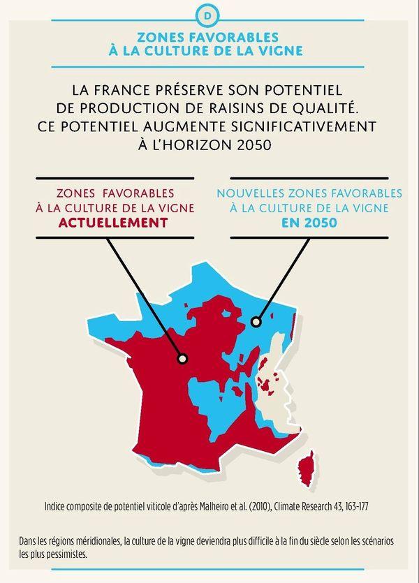 Les vieilles régions viticoles devront-elles se délocaliser au nord et à l'ouest de la France ou auront-elles les moyens de survivre en s'adaptant. c'est la question posée par cette carte établie par l'INRA
