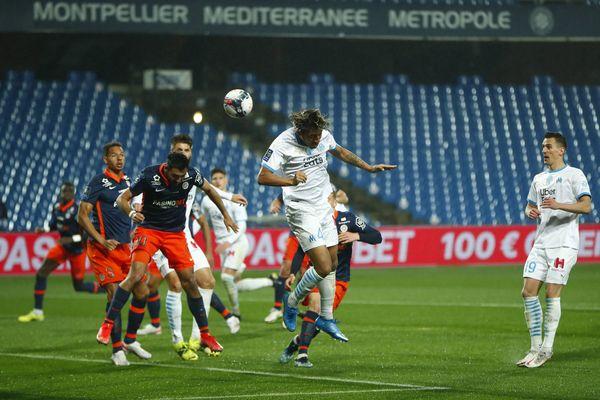 Les joueurs du MHSC lors de leur rencontre face à l'OM pour la 32ème journée de Ligue 1 - 10 avril 2021