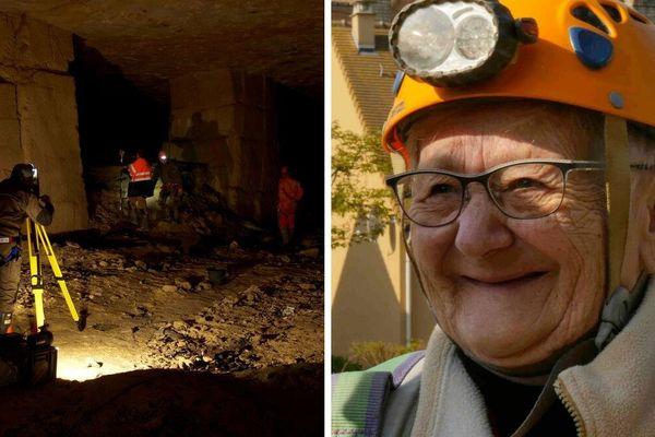 Archéologues (à gauche) et Yvette Lethimonnier, ancienne refugiée à la carrière de Fleury-sur-Orne (à droite)