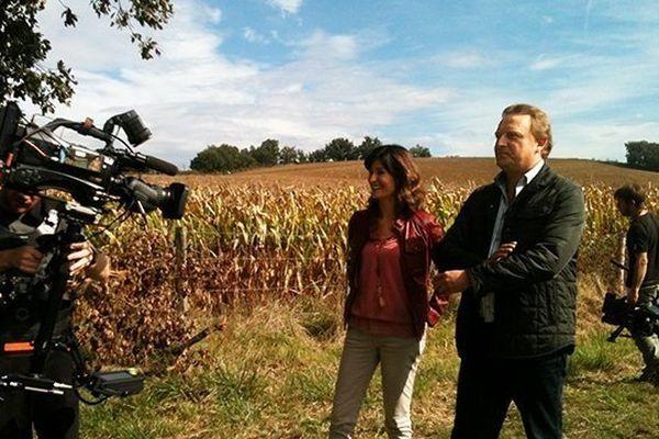 Anne-Sophie Mandrou et Fabrice Goll sur le tournage d'Enquêtes de Régions