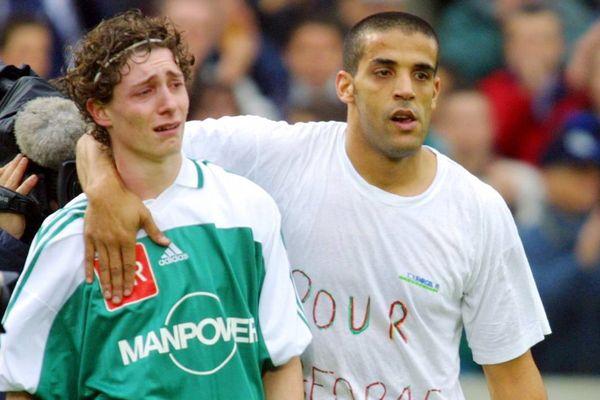 Le 09/03/02, la tristesse de Simon Adoue après la  défaite 1 à 0 pendant les prolongations de Libourne-Saint-Seurin contre Bastia en quart de finale de la coupe de France.