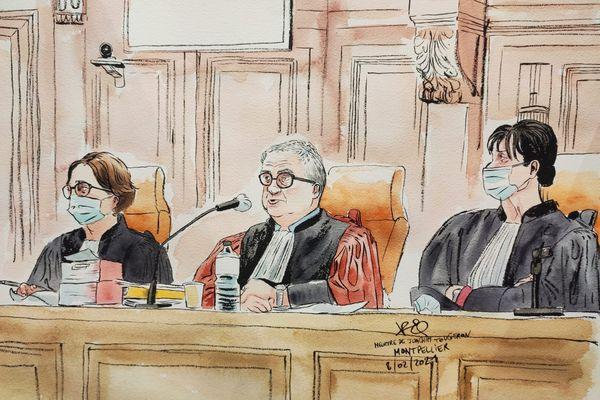 Montpellier - procès de Mohamed Guendouz accusé du meurtre de Joaquim, devant les Assises de l'Hérault. Le président et ses 2 assesseurs - 8 février 2021.
