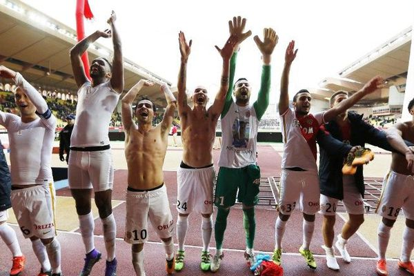 La joie des Monégasques après leur victoire contre Nice 1 à 0.