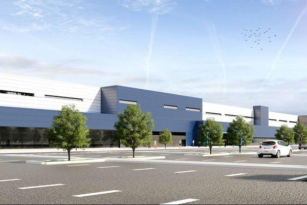 Visuel paysager de l'entrepôt de e-commerce sur l'ancien site de Pétroplus à petit-Couronne. Il pourrait ouvrir en 2023, au plus tôt.