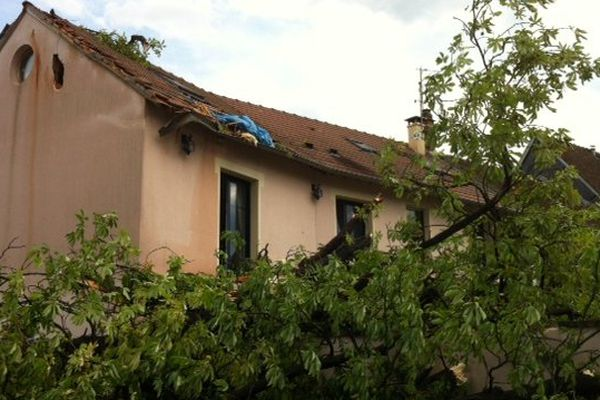 Un arbre tombé sur une maison dans le centre-ville d'Evreux.