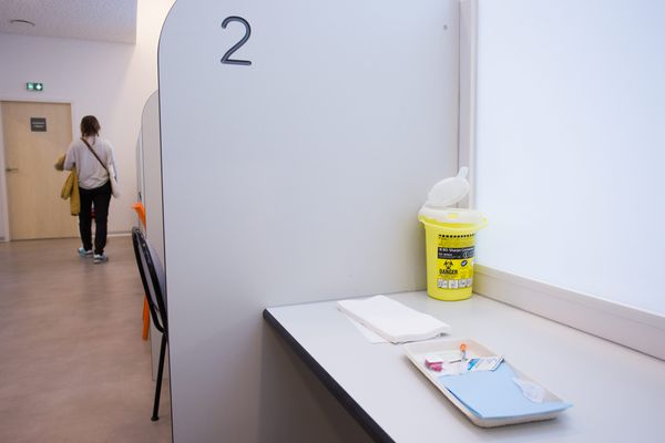 L'espace Gaïa, première salle de consommation de drogues a moindre risque dans le quartier de la gare du Nord dans le Xe arrondissement de Paris, photographiée en 2016.