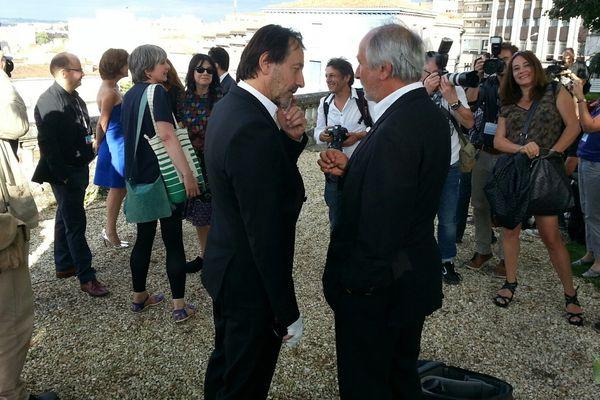 Jean-Hugues Anglade, très entouré par la presse depuis son arrivée à Angoulême.