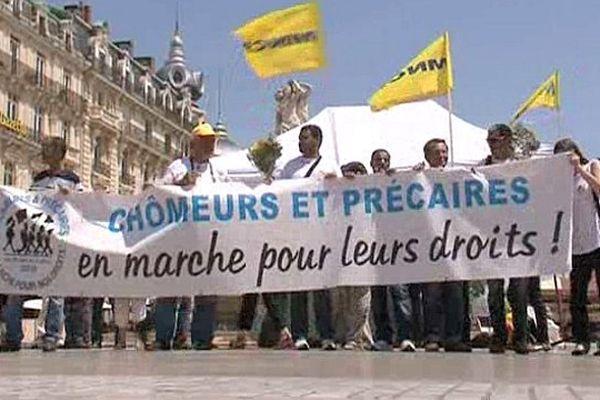 Montpellier - La marche des chômeurs et précaires se préparent place de la Comédie - 15 juin 2013.