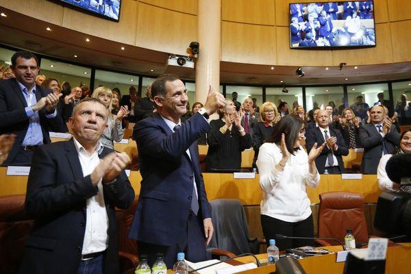 ILLUSTRATION - Gilles Simeoni lors de son élection à la présidence du conseil exécutif de Corse en janvier 2018.