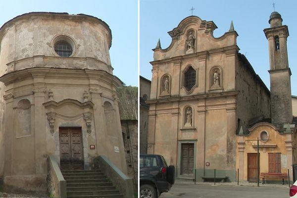Les chapelles de l'Annonciation (à gauche) et de l'Assomption (à droite) de La Brigue (Alpes-Maritimes) seront restaurées grâce au Loto du patrimoine.