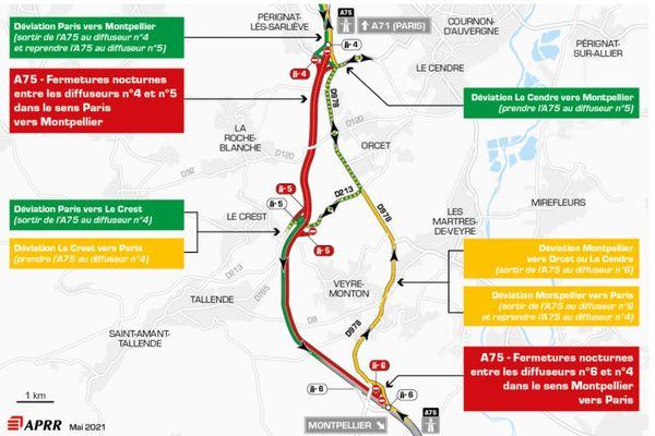 Mercredi 19 mai, la circulation sera déviée sur l'autoroute A75, au sud de Clermont-Ferrand.