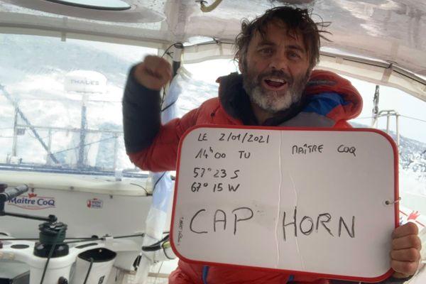Yannick Bestaven lors de son passage du Cap Horn sur Maitre Coq le 2 janvier 2021