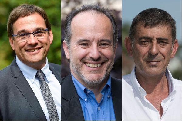 Jean-Marie Sermier (dr.), député (LR) du Jura, Michel Zumkeller (centre), député UDI du Territoire de Belfort, et Patrice Perrot (à g.), député (LREM) de la Nièvre, ont consigné la tribune