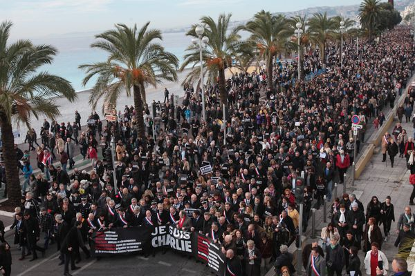 Le 10 janvier 2015, plus de 25.000 personnes manifestaient à Nice en soutien à Charlie Hebdo