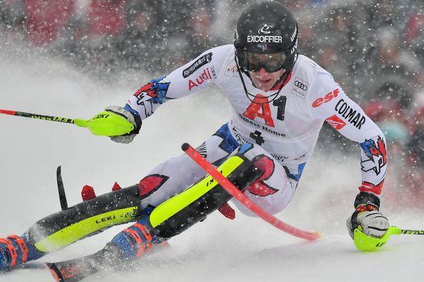Le vosgien Clément Noël, licencié à Val d'isère, lors de la première manche du slalom de Kitzbühel (Autriche) comptant pour la Coupe du monde de ski alpin.