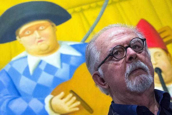Le célèbre aquarelliste et sculpteur colombien Fernando Botero dans la Creuse, à Felletin ce lundi 18 octobre
