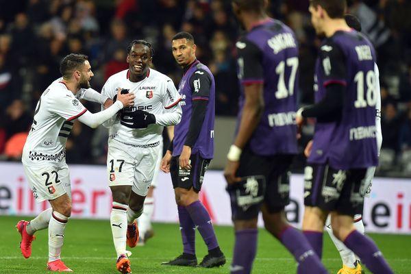 Le Rennais Maouassa célèbre son but (2-0, 83e) qui a scellé la victoire des Bretons contre Toulouse.