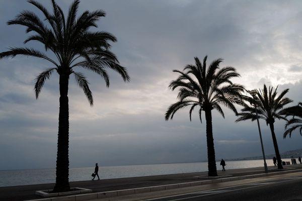 Illustratrion. Nice, la promenade des Anglais, sous temps Covid.