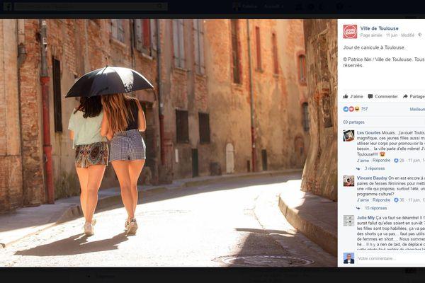 Capture d'écran de la page facebook de la ville de Toulouse