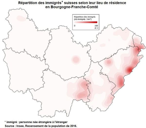 La répartition des immigrés suisses selon leur lieu de résidence en Bourgogne-Franche-Comté.