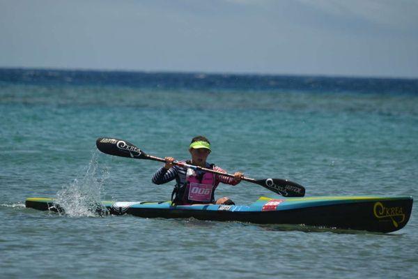"""""""C'était très physique"""" Claire Dewaste en pleine action pendant les championnats du monde d'Ocean racing."""