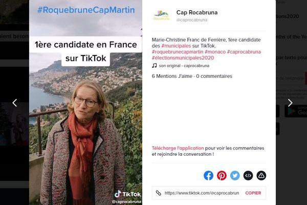 Marie-Christine Franc de Ferrière semble bien être la 1ere candidate aux municipales sur TikTok