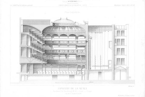 Plan de La Scala 1875 - coupe longitudinale