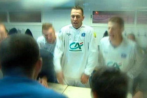 Alès (Gard) - les petits alésiens de CFA2 dans les vestiaires, après leur qualification (3-0) en Coupe de France face à Arles-Avignon (L2) - 16 novembre 2013.