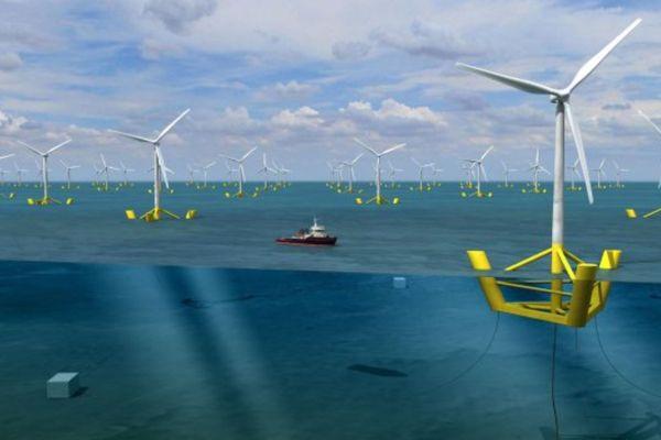 Illustration d'un champ d'éoliennes flottantes