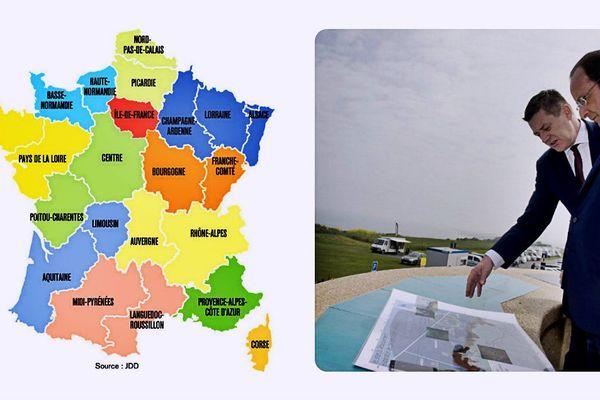François Hollande aujourd'hui en Normandie et la carte qui serait rendue publique mardi.