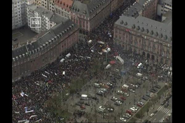Manifestation anti-Front National à Strasbourg le 29 mars 1997