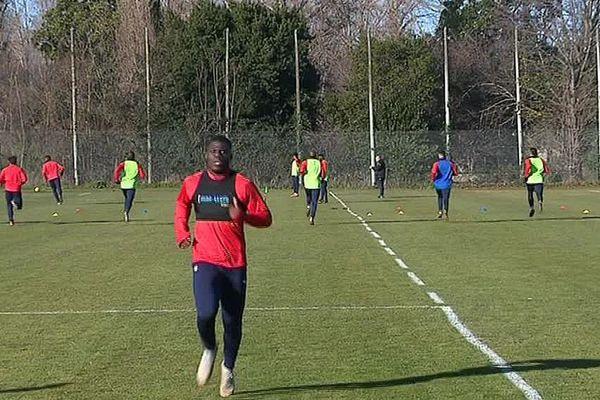 Kevin Denkey, attaquant axial prêté par Nîmes, est l'un des trois renforts de l'AS Béziers - janvier 2019.