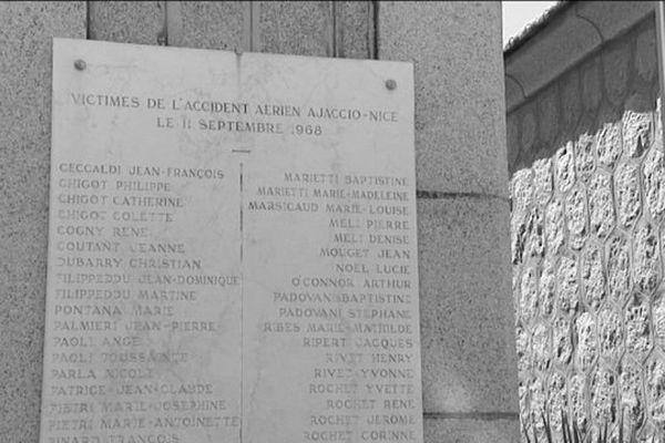 Plaque commémorative des victimes de l'accident Ajaccio-Nice du 11 septembre 1968