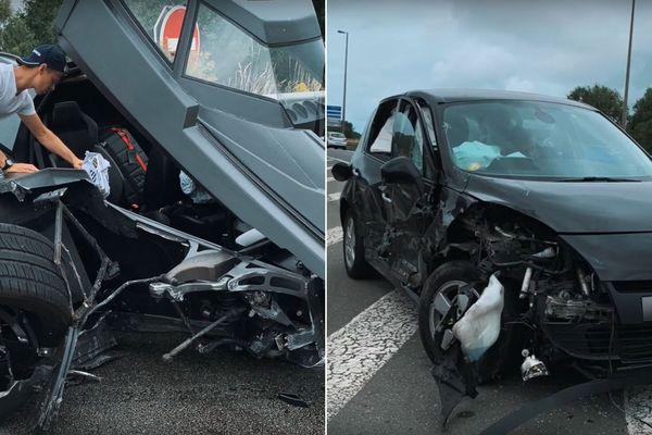 La Batmobile et la Scenic accidentées samedi à Téteghem.