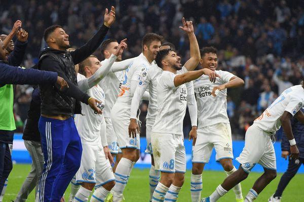 10/11/2019 - La joie des joueurs de l'OM après leur victoire 2-1 sur l'OL, en 13e journée de Ligue 1.