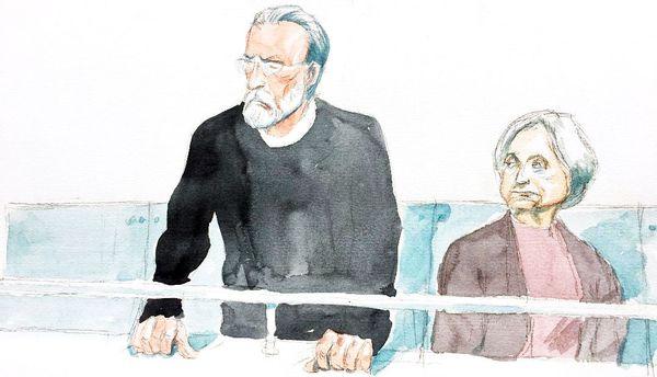 Michel Fourniret et Monique Olivier à l'écoute du verdict dans leur procès, en 2018, à Versailles.