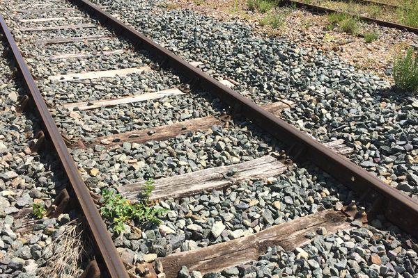 Les rails de la gare de Pithivers, qui sont d'époque.