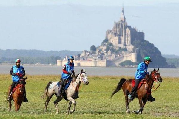 L'épreuve d'endurance dans la baie du Mont Saint Michel lors des Jeux équestres mondiaux
