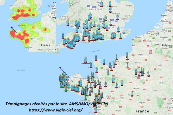 Météore du 5 septembre 2021, la carte des témoignages publiée par vigie-ciel.org