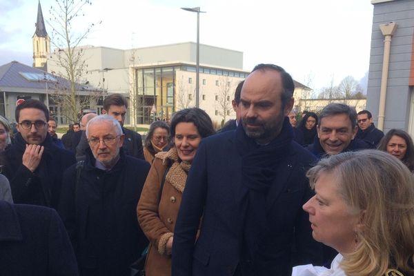 11 février 2019. Le Premier ministre, Edouard Philippe, lors d'un déplacement à Avoine en Touraine pour visiter la maison de santé pluridisciplinaire universitaire du Véron.