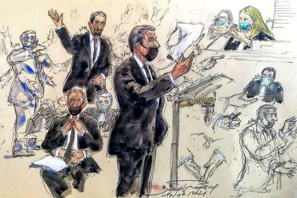 Croquis d'audience de l'affaire Bygmalion, 2021.