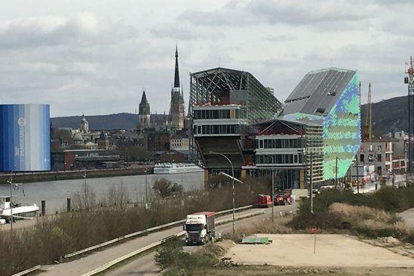 """Le chantier du 108   à Rouen le 17 mars 2017 (photo : Richard PLUMET / France 3 Normandie). C'est le futur siège de la Métropole Rouen Normandie, imaginé et conçu par l""""architecte Jacques FERRIER"""