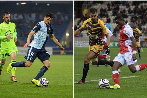 L'Estac (L2), à gauche, s'est incliné face au Havre (L2). Le Stade de Reims (L1), à droite, a perdu face à Orléans (L2).