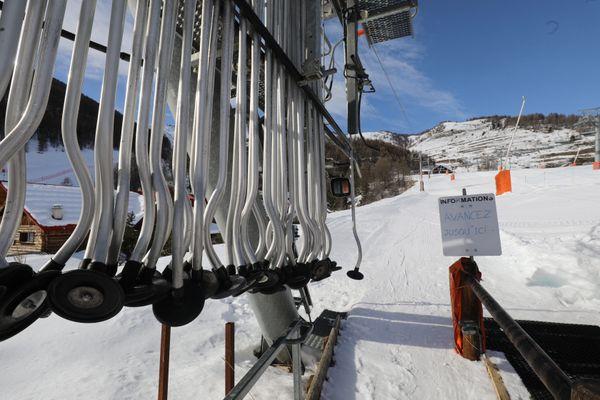 La station de ski d'Auron le 19 janvier 2021, fermée pour cause de Covid-19.