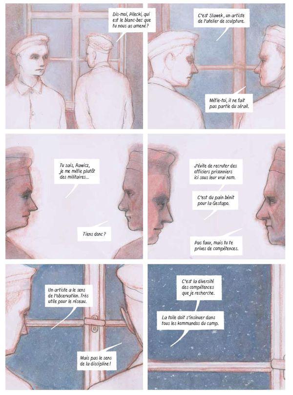 Planche extraite du Rapport W - infiltré à Auschwitz