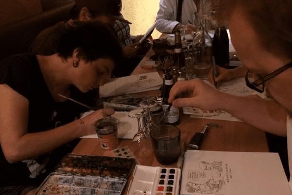 Lyon BD festival - Les dessinateurs en plein travail pour sortir le Bouchon déchaîné