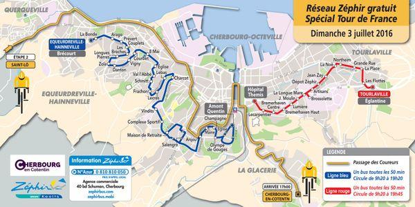 Tour de France 2016 Plan des bus à Cherbourg en Cotentin  3 juillet 2016 (cliquez sur l'image pour l'agrandir)
