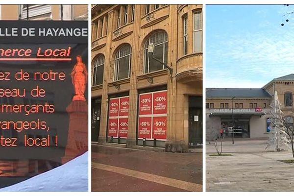 Les centres villes de Hayange, Metz et Thionville