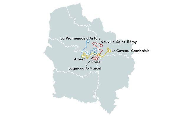 En bleu, la première étape entre La promenade d'Artois dans le Pas-de-Calais à Albert dans la Somme. En Rouge, la deuxième étape, entre Roisel dans la Somme et Neuville-Saint-Rémy dans le Nord et en jaune, la dernière étape, entre Le Cateau-Cambrésis dans le Nord et Albert dans la Somme.