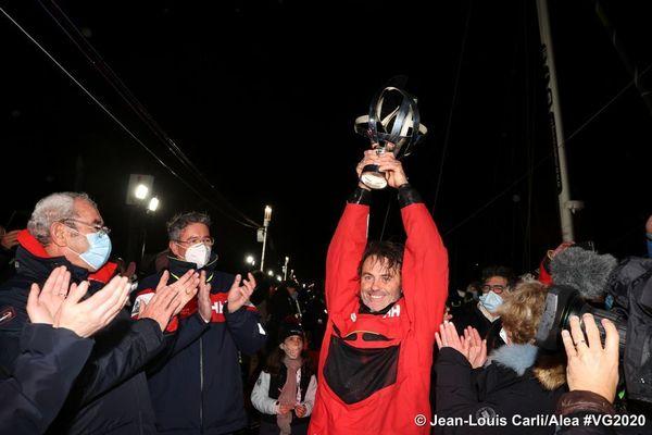 Yannick Bestaven, vainqueur du Vendée Globe 2020, le 28 janvier 2021